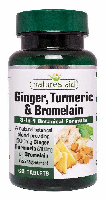 Natures Aid Ginger, Turmeric &amp; Bromelain <br>60 Tablets